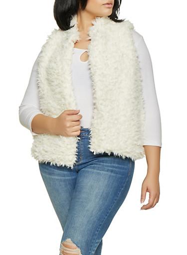 Plus Size Shaggy Faux Fur Vest,IVORY,large