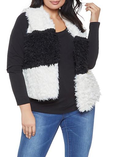 Plus Size Color Block Shaggy Faux Fur Vest,BLACK/WHITE,large