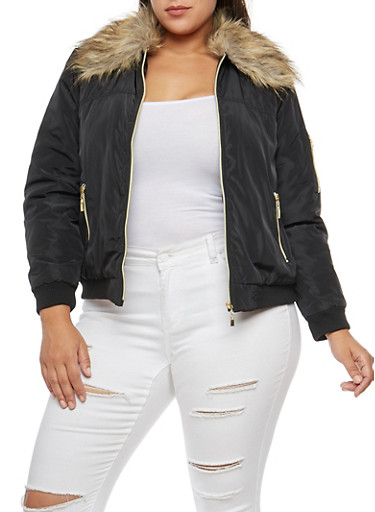 Plus Size Faux Fur Trimmed Bomber Jacket,BLACK,large