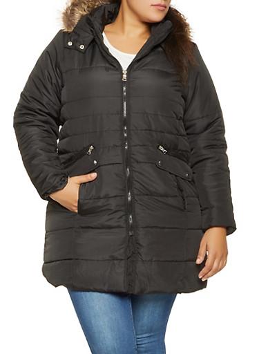 Plus Size Faux Fur Hooded Puffer Jacket,BLACK,large