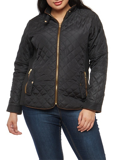 Plus Size Quilted Barn Jacket Rainbow