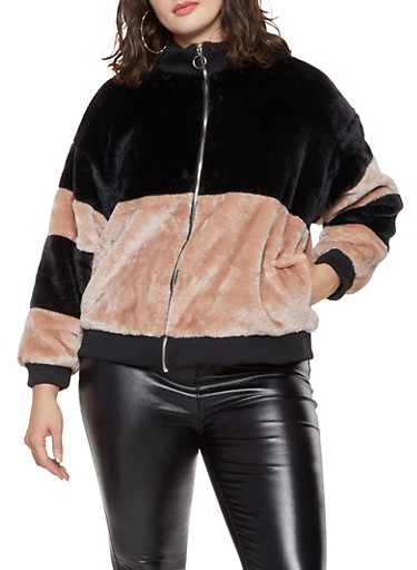 Plus Size Color Block Faux Fur Bomber Jacket,BLUSH,large