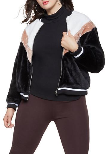 Plus Size Faux Fur Color Block Bomber Jacket,BLACK/WHITE,large
