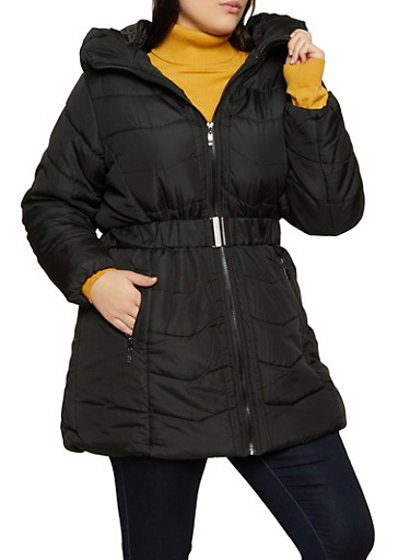 Plus Size Hooded Quilted Puffer Jacket by Rainbow