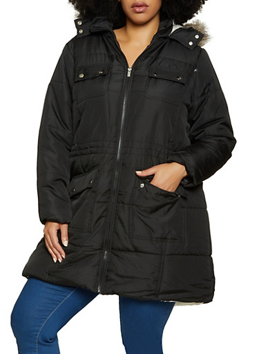 Plus Size Sherpa Lined Quilted Puffer Coat,BLACK,large