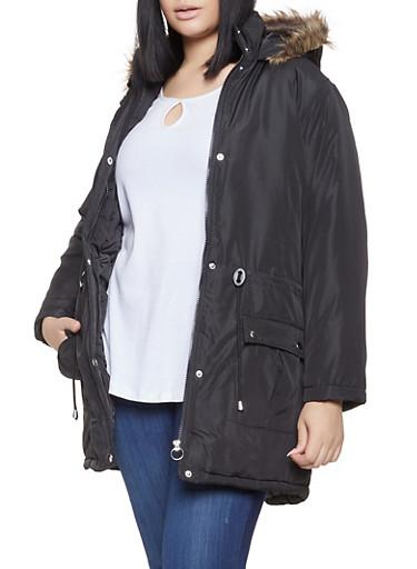 Plus Size Faux Fur Trim Hooded Parka,BLACK,large
