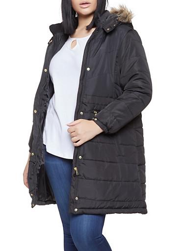 Plus Size Long Puffer Jacket,BLACK,large