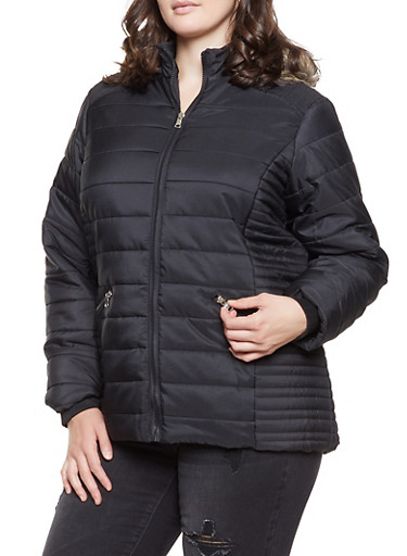Plus Size Faux Fur Hooded Puffer Jacket,BLACK,large