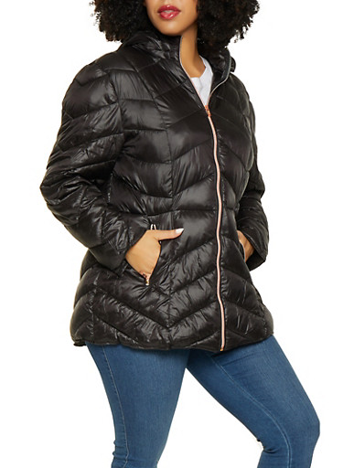 Plus Size Hooded Puffer Jacket,BLACK,large