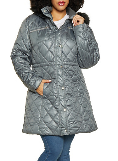 Plus Size Long Puffer Jacket,GRAY,large
