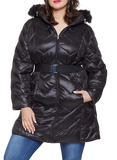 Plus Size Long Belted Puffer Jacket,BLACK,large