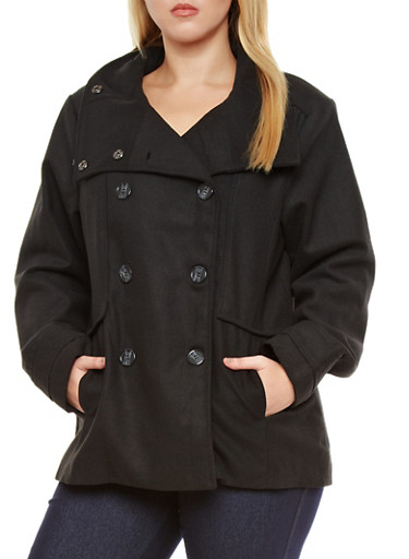 Plus Size Wool Blend Peacoat,BLACK,large
