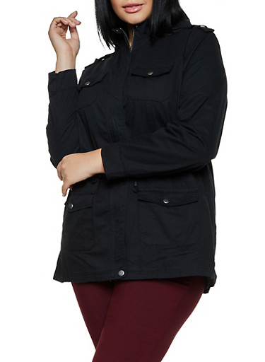 Plus Size Solid Hooded Twill Anorak Jacket,BLACK,large