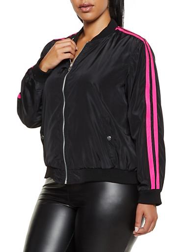 Plus Size Nylon Varsity Stripe Bomber Jacket,BLACK,large