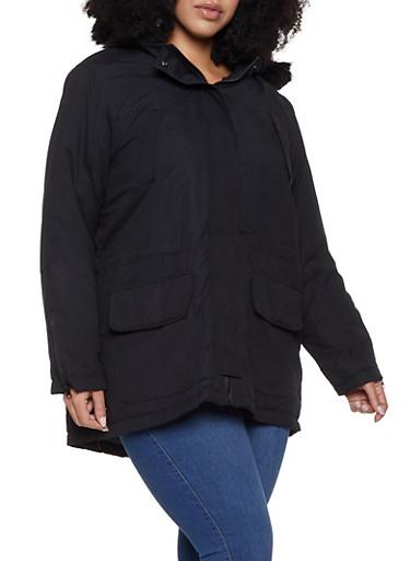 Plus Size Quilt Lined Parka,BLACK,large