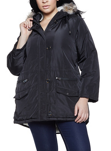 Plus Size Solid Sherpa Lined Parka,BLACK,large