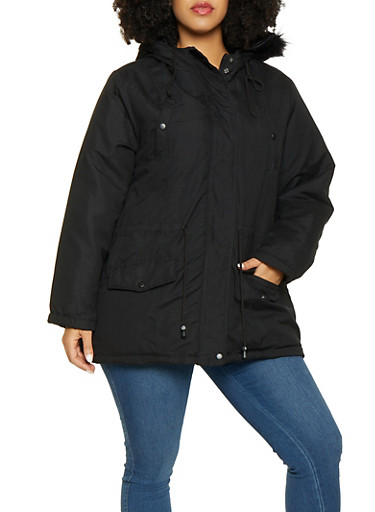 Plus Size Faux Fur Hooded Anorak Jacket,BLACK,large