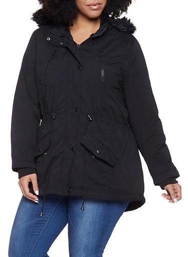 Plus Size Faux Fur Trim Anorak Jacket,BLACK,large