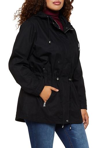 Plus Size Hooded Twill Anorak Jacket,BLACK,large