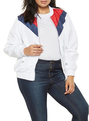 Plus Size Color Block Chevron Bomber Jacket,WHITE,large