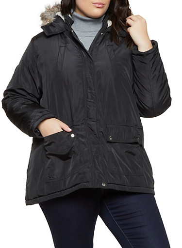 Plus Size Faux Fur Trimmed Hood Puffer Jacket,BLACK,large