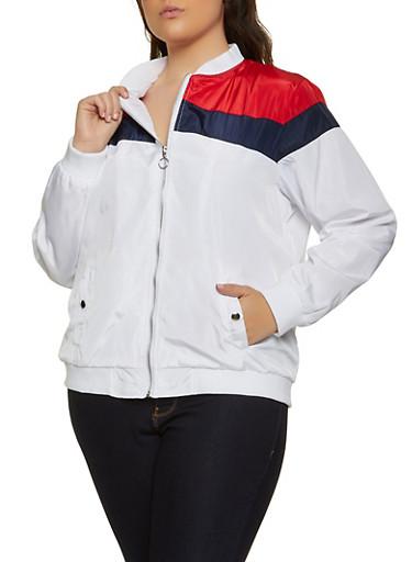 Plus Size Color Block Nylon Bomber Jacket,WHITE,large