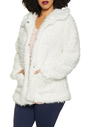 Plus Size Button Front Sherpa Jacket,IVORY,large