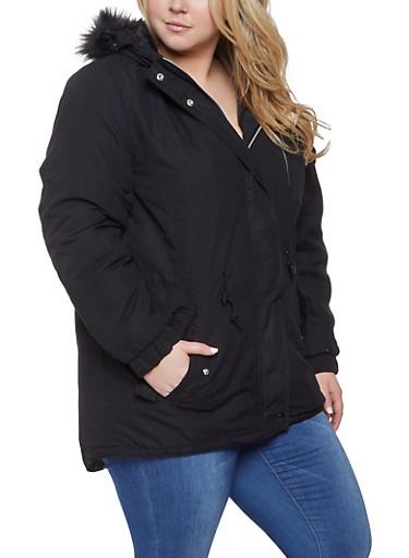 Plus Size Faux Fur Hooded Parka,BLACK,large