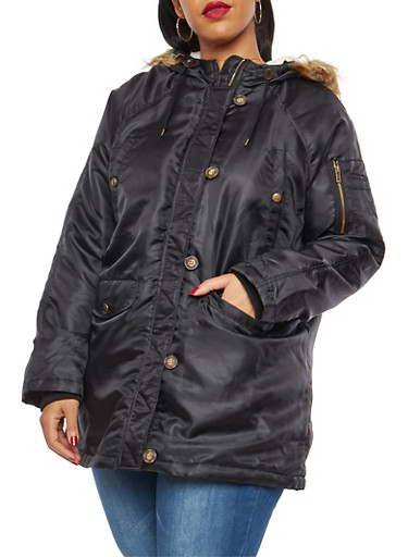 Plus Size Hooded Anorak Jacket,BLACK,large
