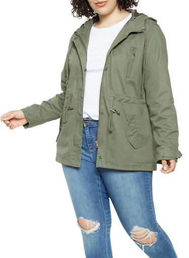 Plus Size Hooded Anorak Jacket,OLIVE,large