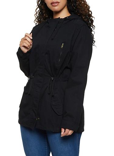 Plus Size Hooded Drawstring Waist Anorak Jacket,BLACK,large