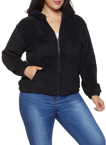 Plus Size Animal Ear Hooded Sherpa Jacket,BLACK,large