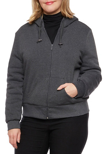 Plus Size Zip Hoodie with Sherpa Lining,CHARCOAL,large