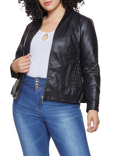Plus Size Ruched Side Faux Leather Moto Jacket,BLACK,large