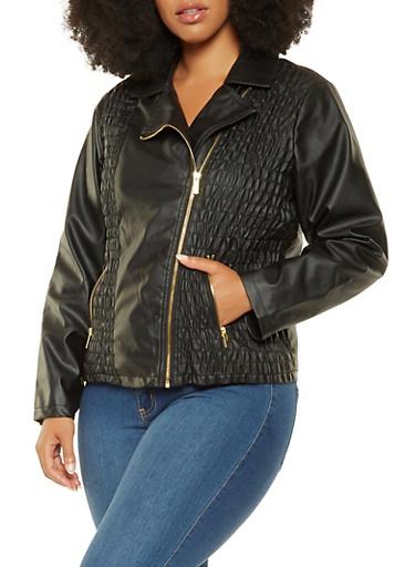 Plus Size Ruched Faux Leather Jacket,BLACK,large