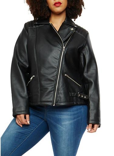Plus Size Asymmetrical Zip Faux Leather Jacket,BLACK,large