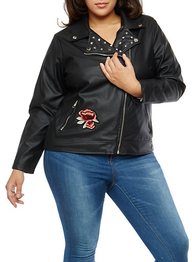 Plus Size Studded Floral Embroidered Moto Jacket,BLACK,large