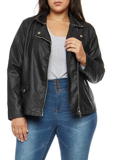 Plus Size Studded Collar Faux Leather Jacket,BLACK,large