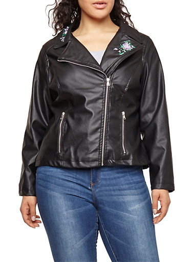 Plus Size Embroidered Faux Leather Moto Jacket,BLACK,large