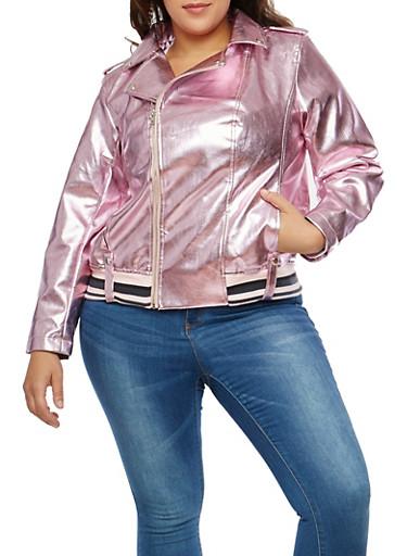 Plus Size Pink Metallic Faux Leather Moto Jacket,PINK,large