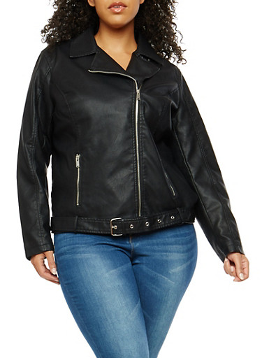 Plus Size Signal Lost Graphic Faux Leather Moto Jacket | Tuggl