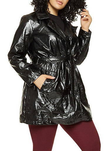 Plus Size Crinkled Faux Patent Leather Trench Coat,BLACK,large