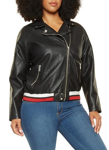 Plus Size Striped Trim Faux Leather Moto Jacket,BLACK,large