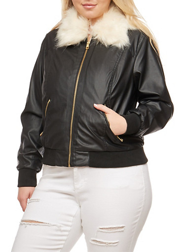 Plus Size Faux Leather Bomber Jacket with Detachable Collar,BLACK,large