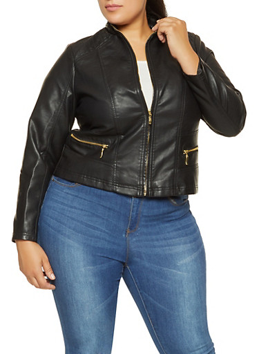 Plus Size Stitched Faux Leather Jacket,BLACK,large