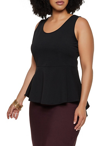 Plus Size Sleeveless Peplum Top,BLACK,large