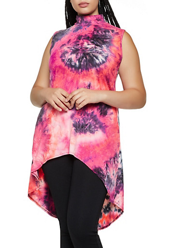 Plus Size High Low Tie Dye Top,NEON PINK,large