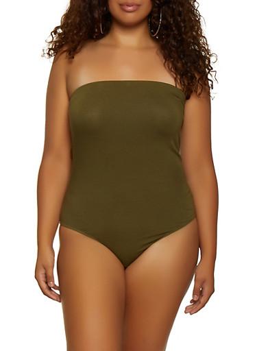 Plus Size Strapless Bodysuit,OLIVE,large