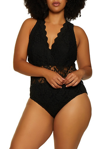 Plus Size Lace Plunge Bodysuit,BLACK,large