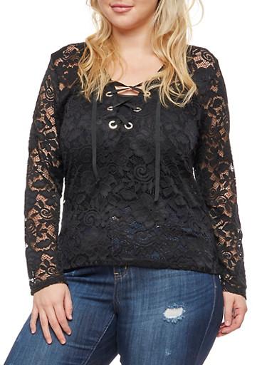 Plus Size Long Sleeve Lace Top,BLACK,large